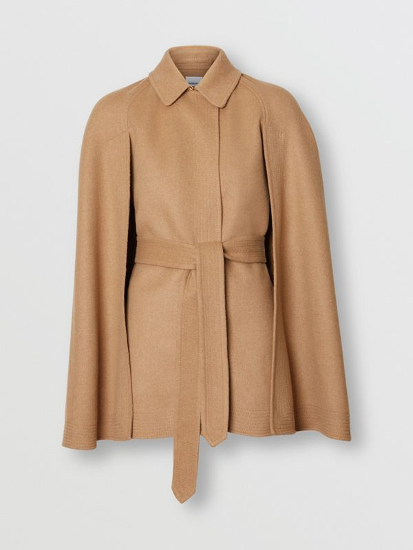 Double-faced Camel Hair Belted Cape - Women | Burberry - cell image 3