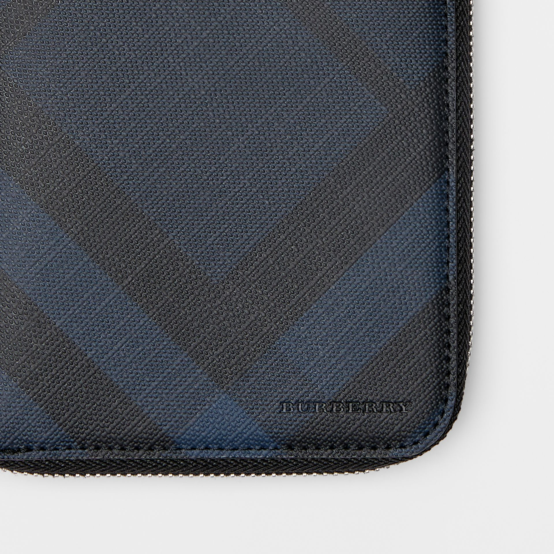 London Check and Leather Ziparound Wallet in Navy/black - Men | Burberry Canada - gallery image 1
