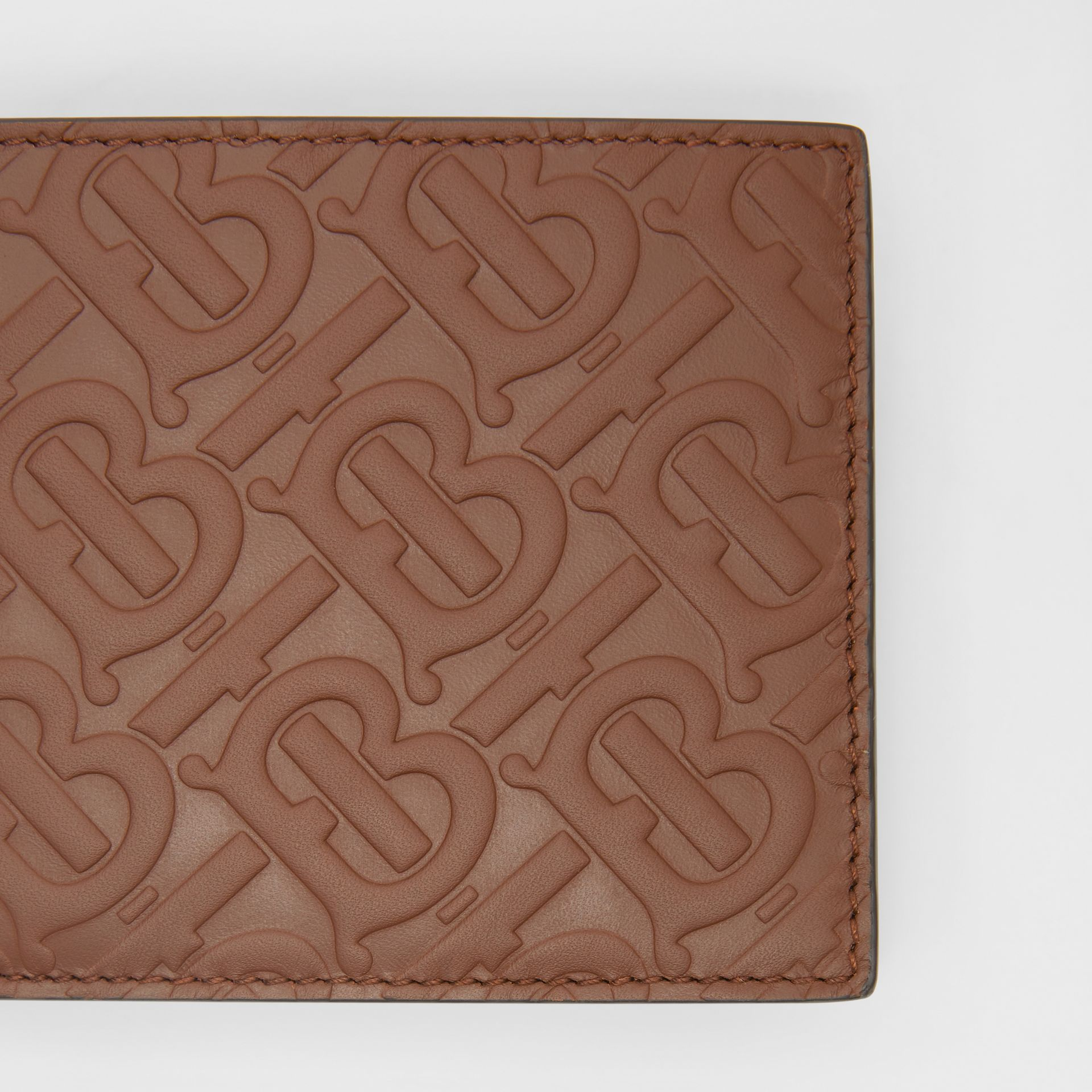 Monogram Leather International Bifold Wallet in Dark Tan - Men | Burberry - gallery image 1