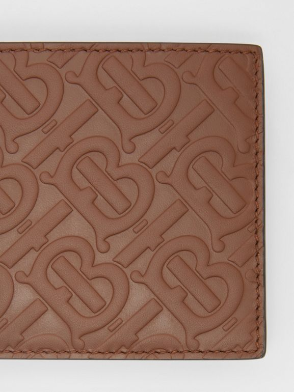 Monogram Leather International Bifold Wallet in Dark Tan - Men | Burberry - cell image 1