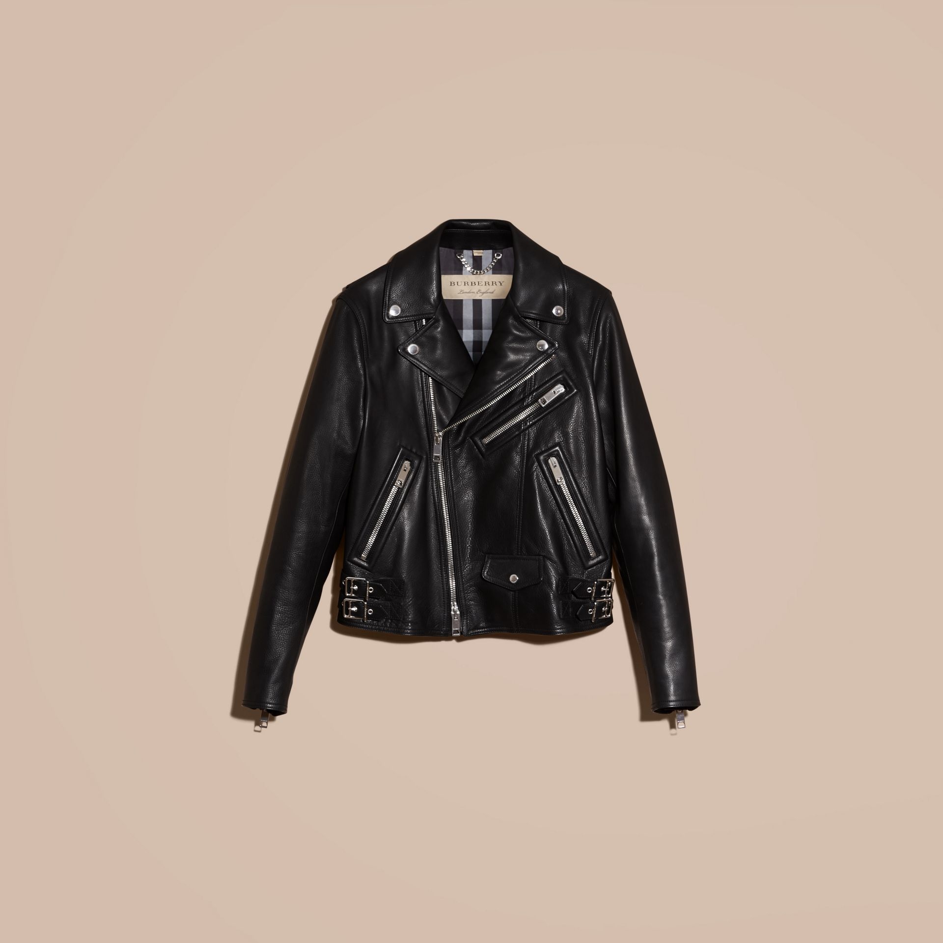 Black Clean-lined Leather Biker Jacket - gallery image 4