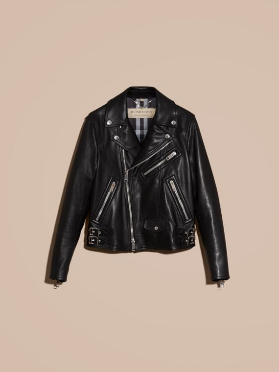 Black Clean-lined Leather Biker Jacket - cell image 3