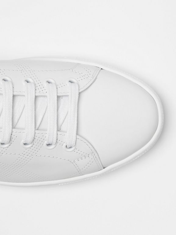 Perforated Check Leather Sneakers in Optic White - Men | Burberry Canada - cell image 1