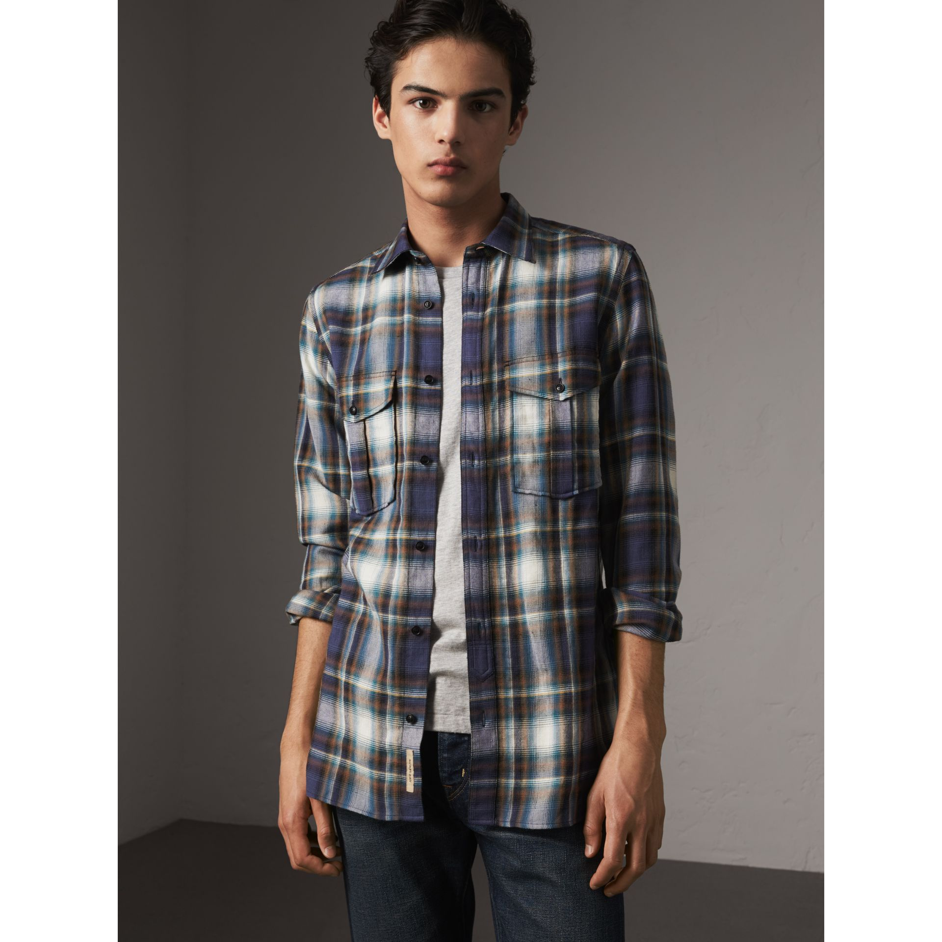 Check Wool Linen Cotton Flannel Shirt in Ink Blue - Men | Burberry - gallery image 4