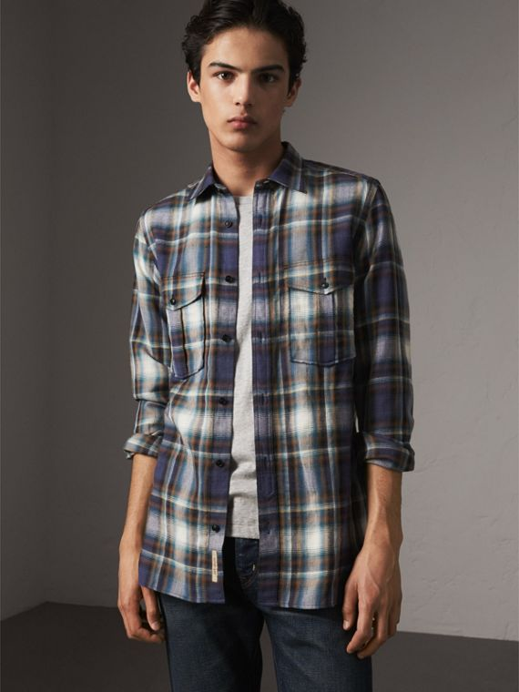 Check Wool Linen Cotton Flannel Shirt in Ink Blue - Men | Burberry - cell image 3