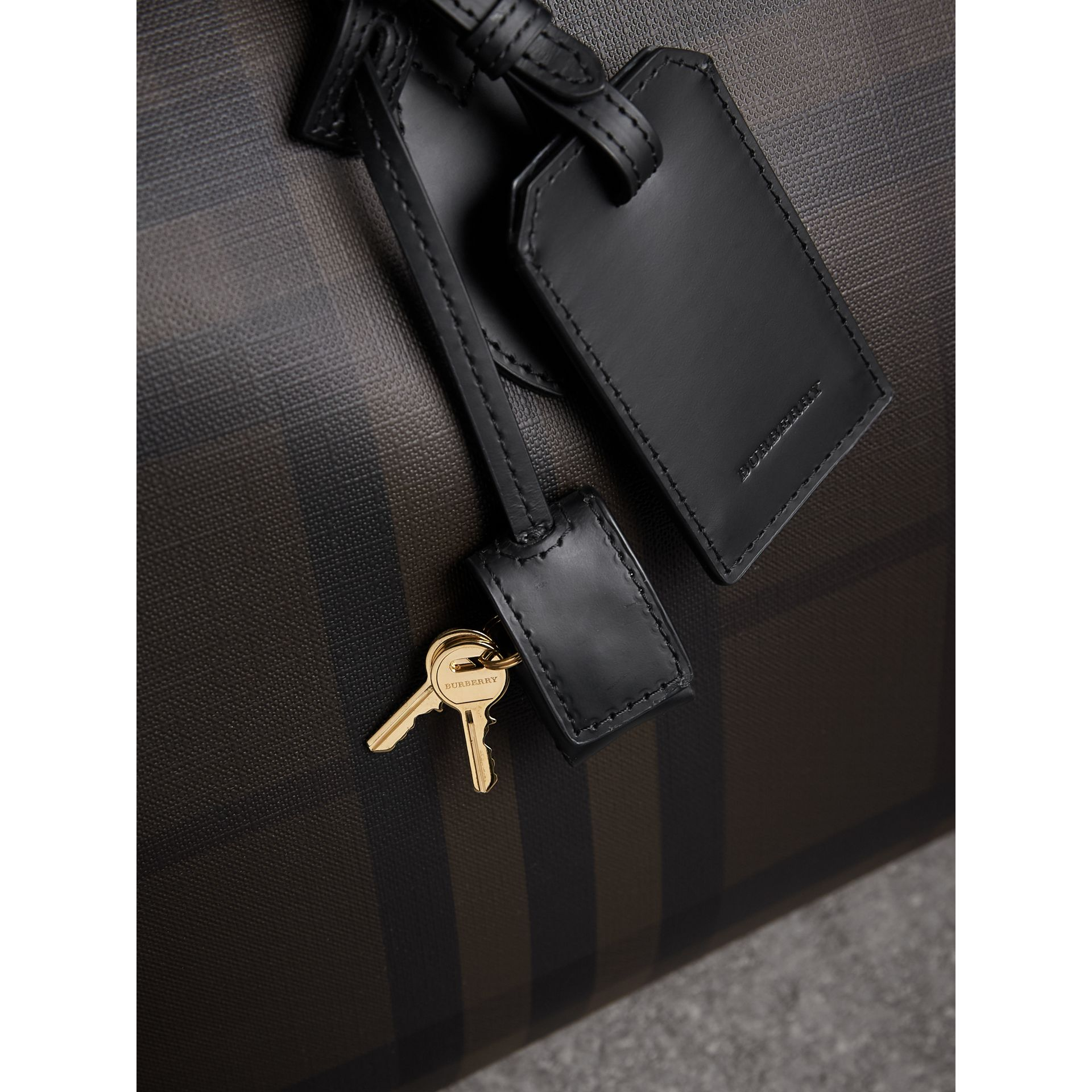 Leather Trim London Check Holdall in Chocolate/black - Men | Burberry - gallery image 2