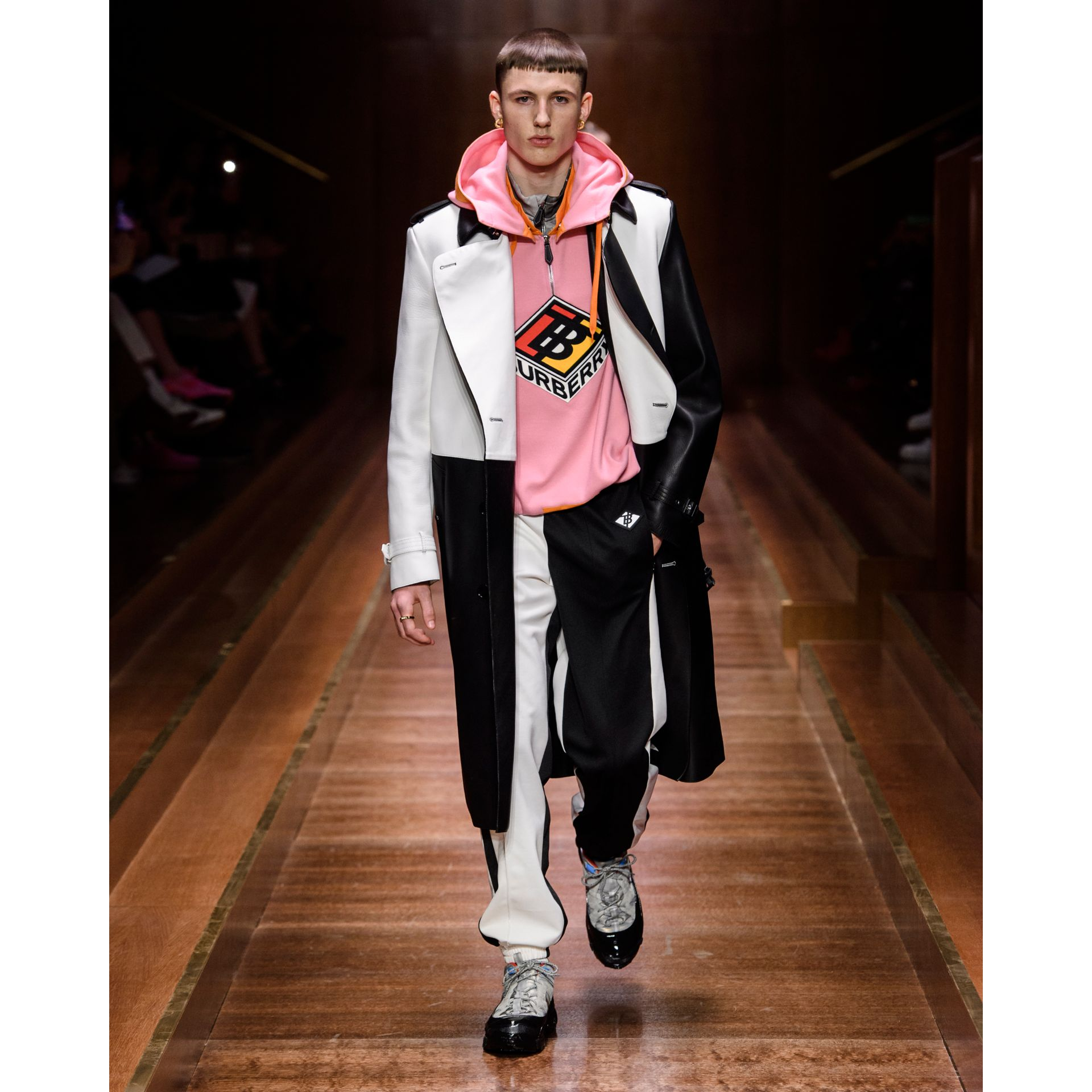 Sleeveless Logo Graphic Wool Hoodie in Candy Pink - Men | Burberry - gallery image 7