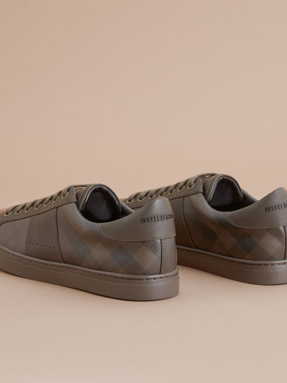 Check Detail Leather Trainers in Peppercorn - Men | Burberry - cell image 3