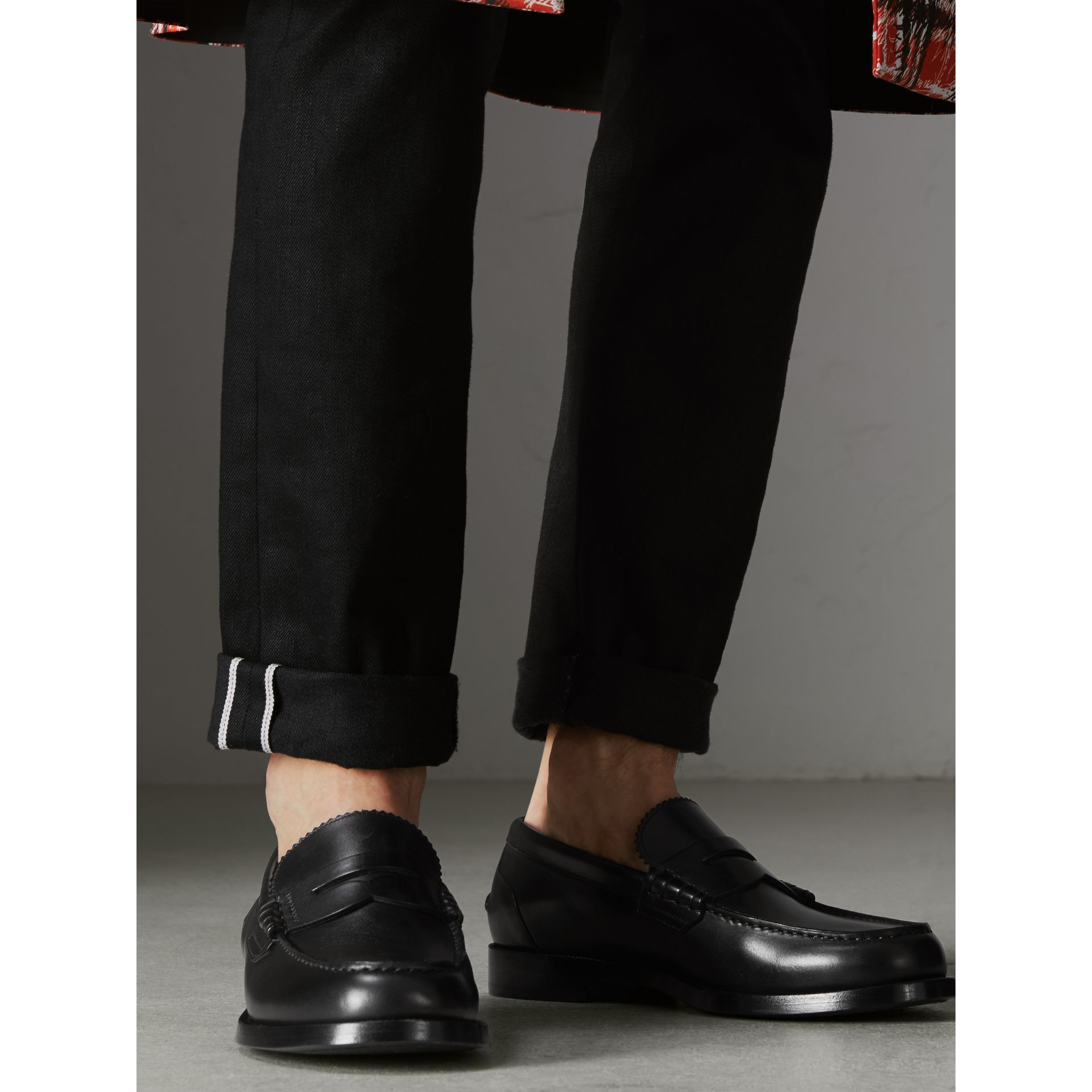 Mocassins Penny Loafers en cuir (Noir) - Homme | Burberry - photo de la galerie 2