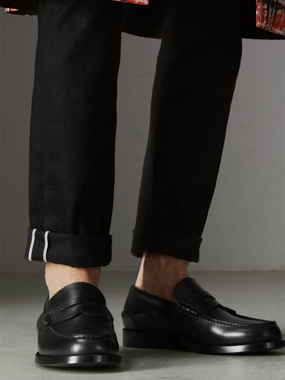Leather Penny Loafers in Black - Men | Burberry Canada - cell image 2