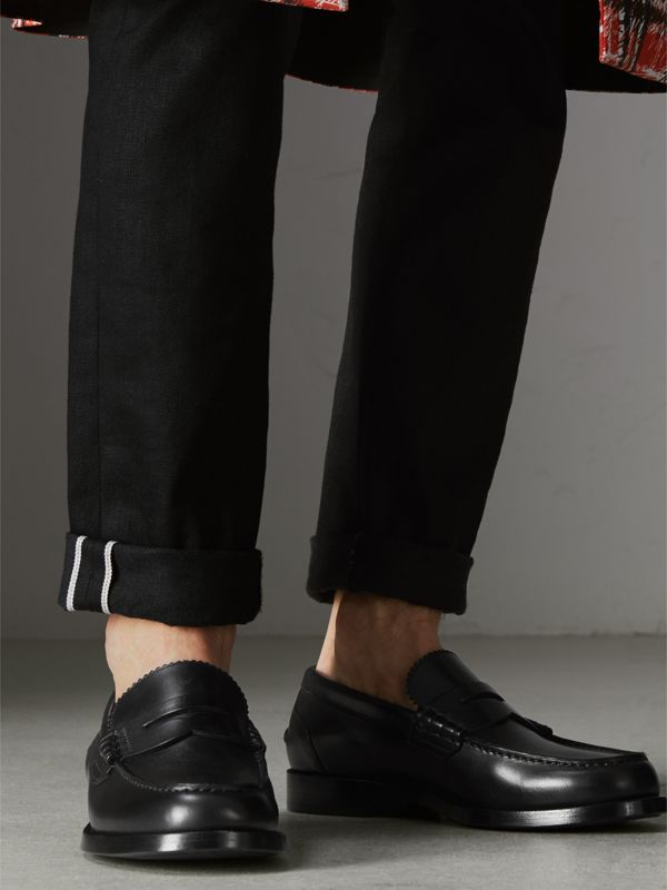 Leather Penny Loafers in Black - Men | Burberry United Kingdom - cell image 2