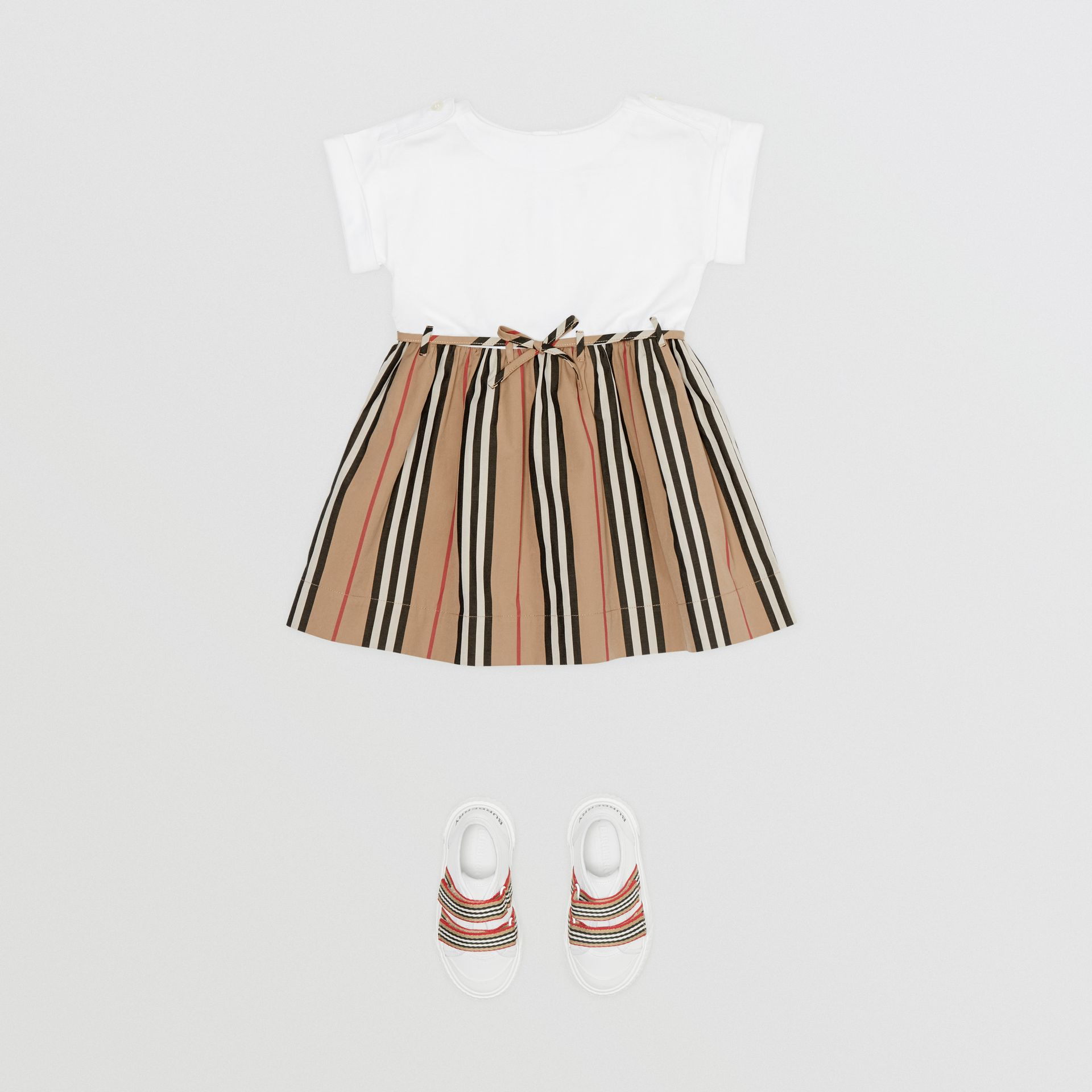 Icon Stripe Cotton Dress in White - Children | Burberry - gallery image 2