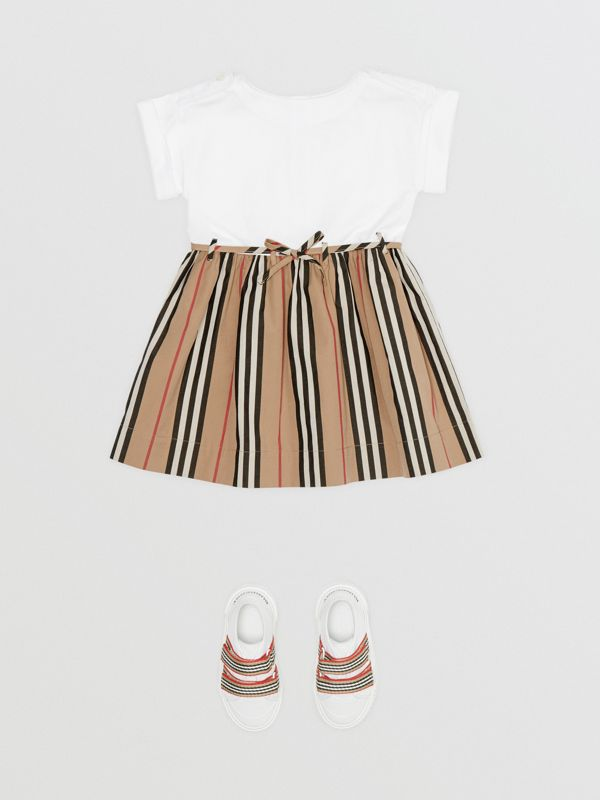 Icon Stripe Cotton Dress in White - Children | Burberry - cell image 2