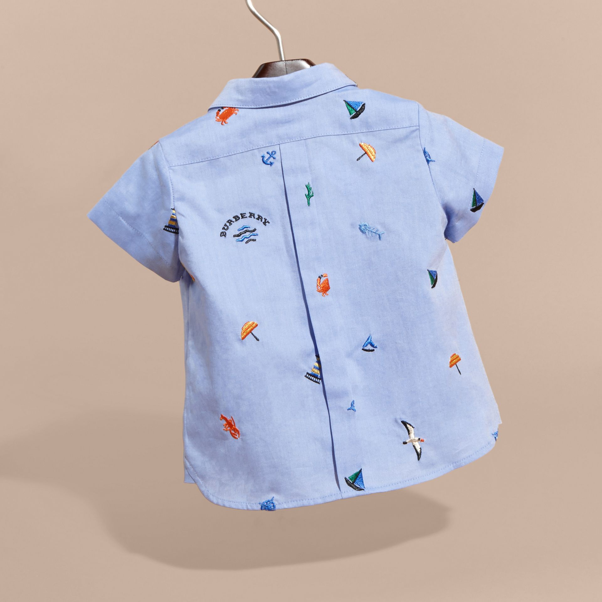 Cotton Oxford Shirt with Embroidered Nautical Motifs - Children | Burberry - gallery image 4