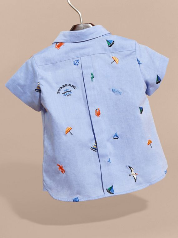 Cotton Oxford Shirt with Embroidered Nautical Motifs - Children | Burberry - cell image 3