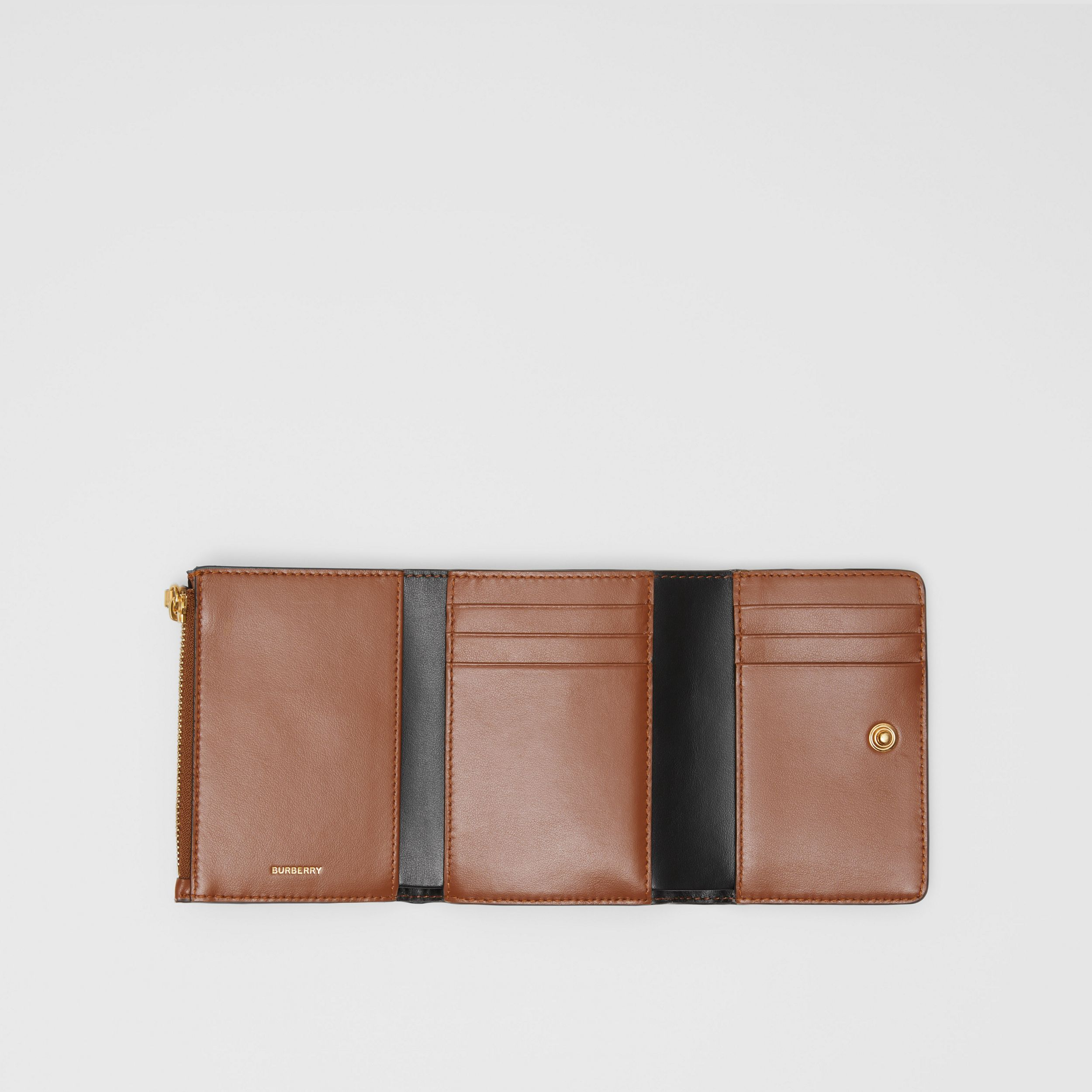 Small Monogram Stripe E-canvas Folding Wallet in Bridle Brown | Burberry - 4
