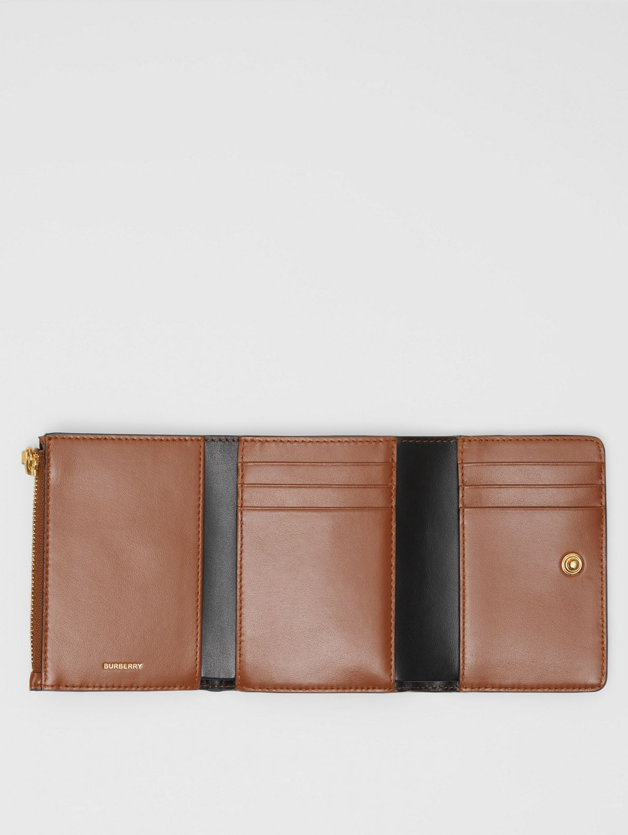 Small Monogram Stripe E-canvas Folding Wallet in Bridle Brown