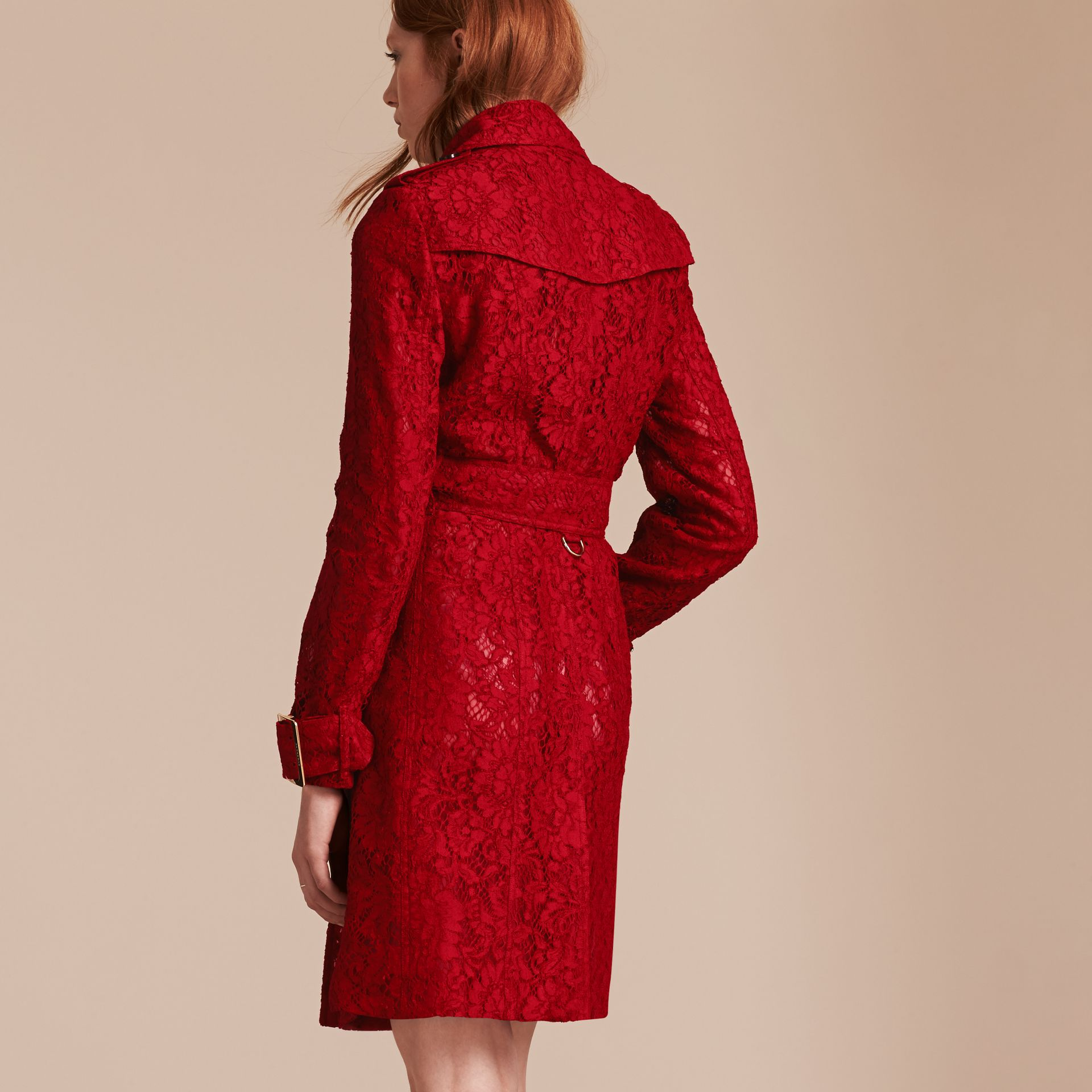Parade red Lace Trench Coat - gallery image 3