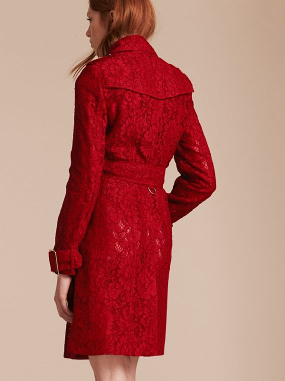 Parade red Lace Trench Coat - cell image 2