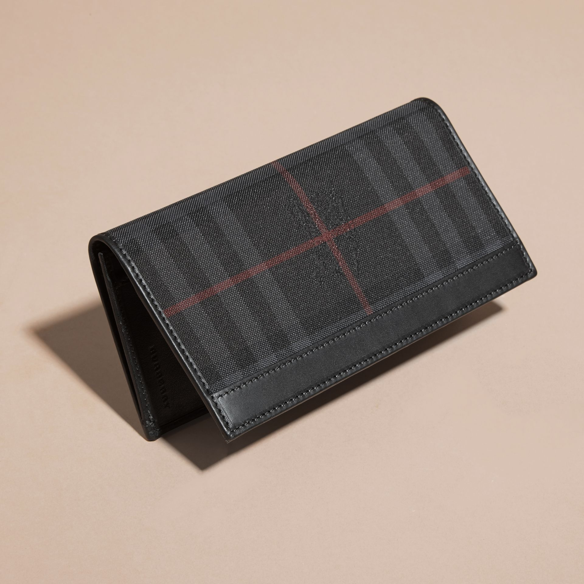 Small Horseferry Check Currency Wallet in Charcoal/black - Men | Burberry Australia - gallery image 3