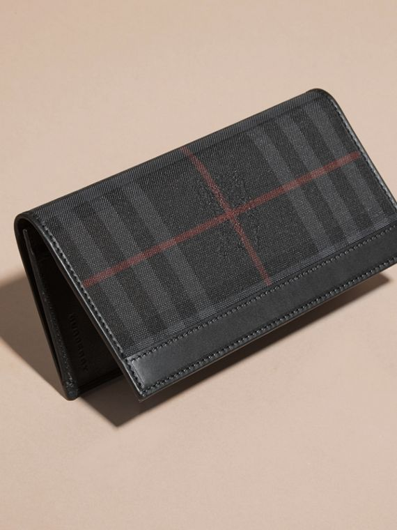 Small Horseferry Check Currency Wallet in Charcoal/black - Men | Burberry - cell image 2