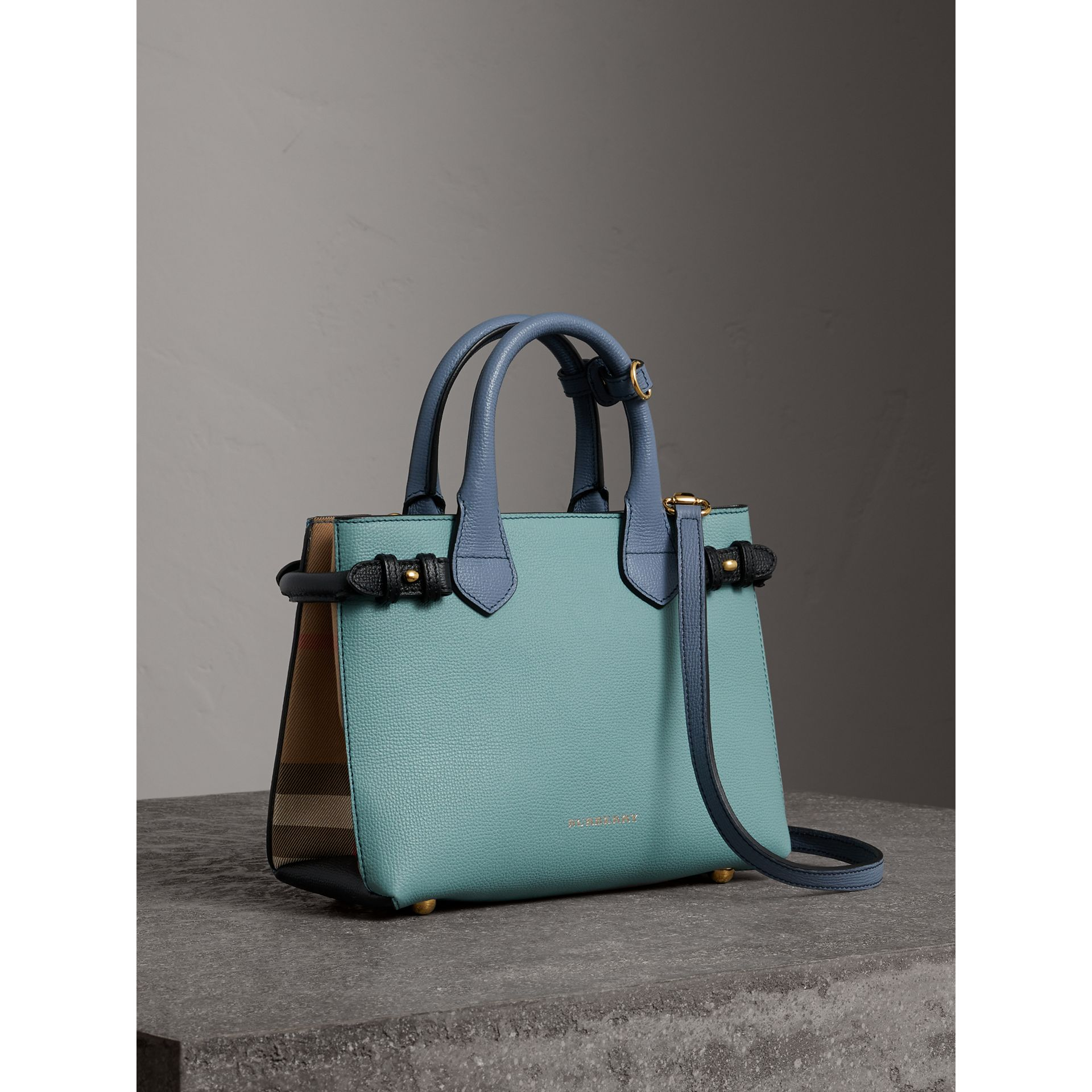 The Small Banner in Tri-tone Leather and House Check in Pale Opal/slate Blue - Women | Burberry - gallery image 0