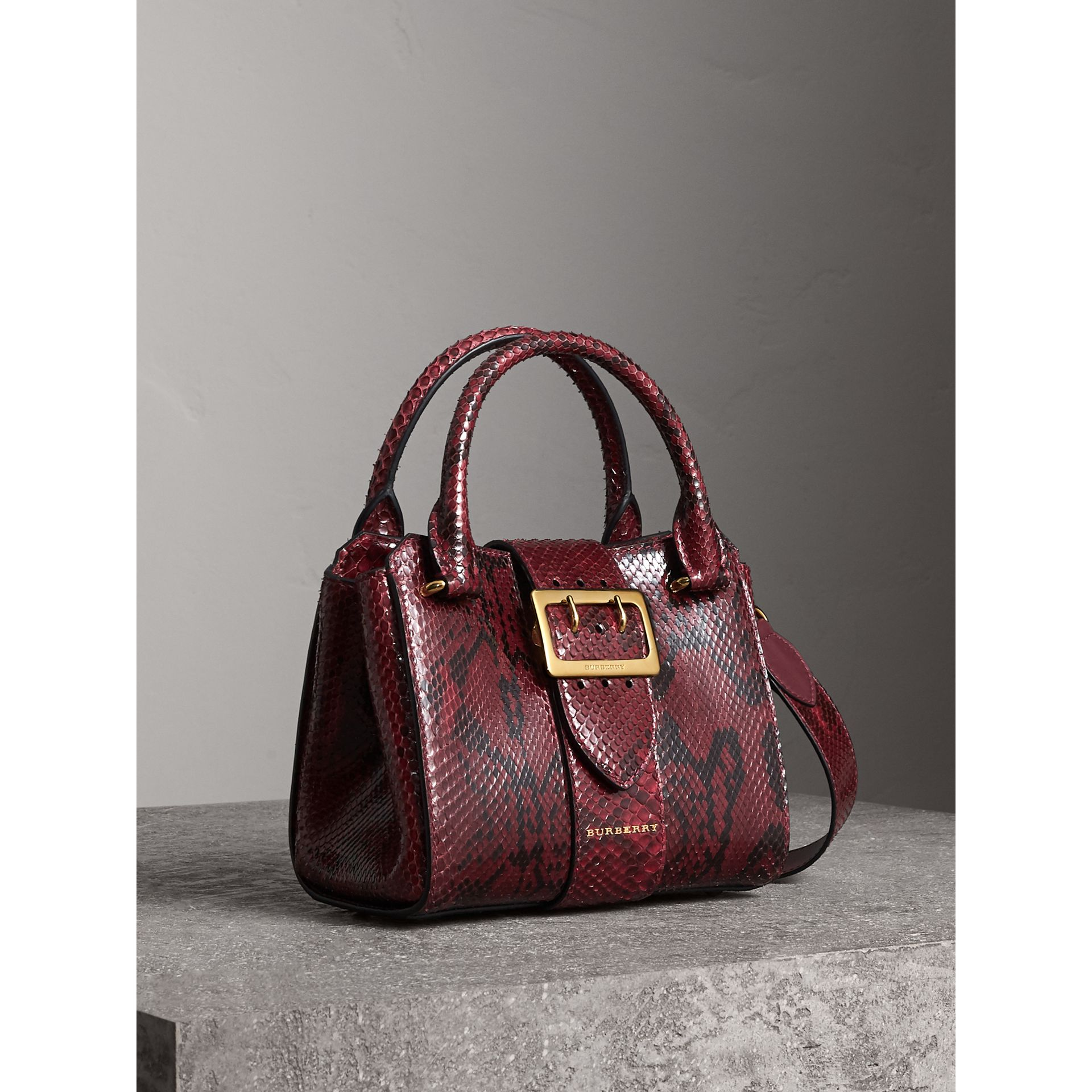 The Small Buckle Tote in Python in Burgundy Red - Women | Burberry - gallery image 9