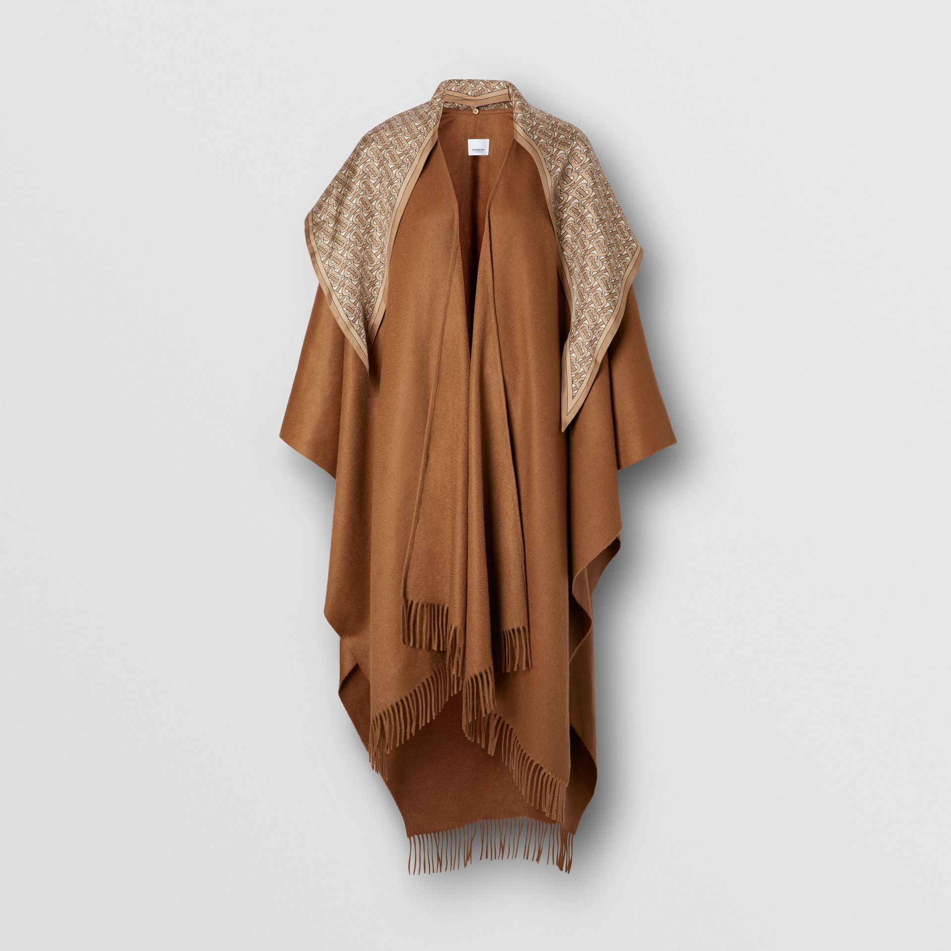 Detachable Monogram Print Scarf Cashmere Cape in Fern - Women | Burberry - gallery image 3