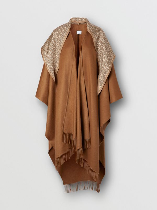 Detachable Monogram Print Scarf Cashmere Cape in Fern - Women | Burberry - cell image 3