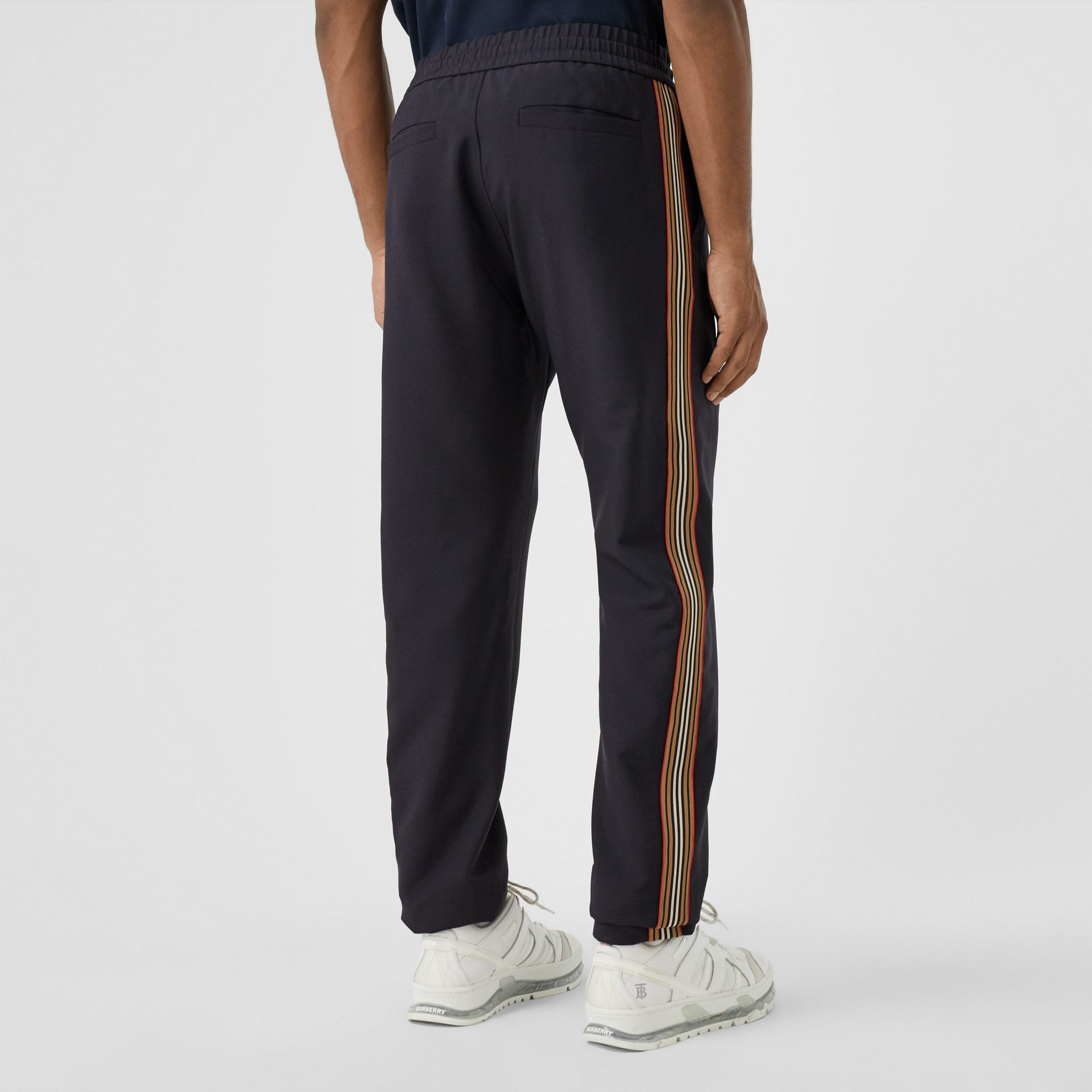 Icon Stripe Detail Wool Mohair Trackpants in Navy - Men | Burberry - gallery image 2