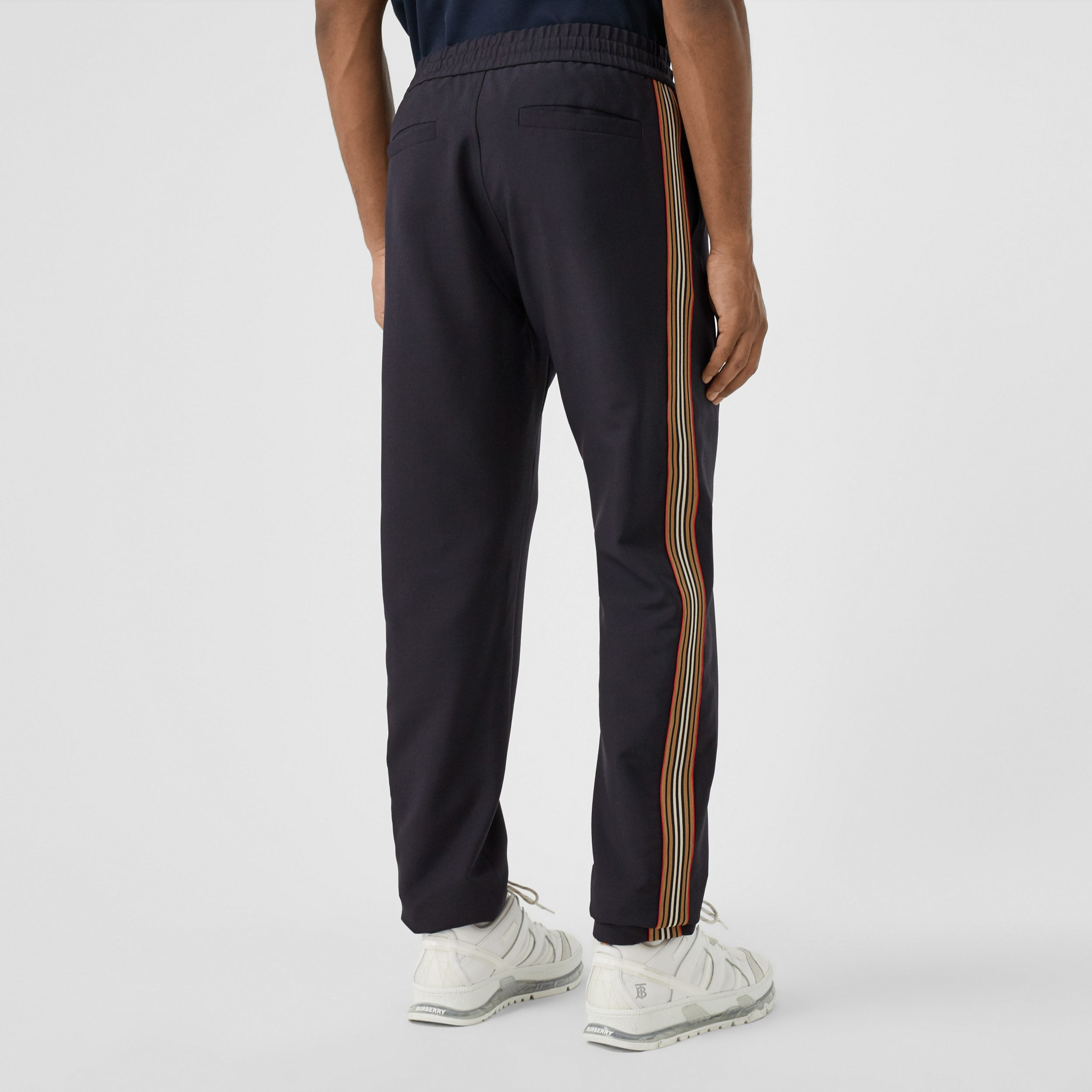 Icon Stripe Panel Wool Mohair Jogging Pants in Navy - Men | Burberry - 3