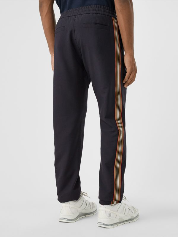 Icon Stripe Detail Wool Mohair Trackpants in Navy - Men | Burberry - cell image 2