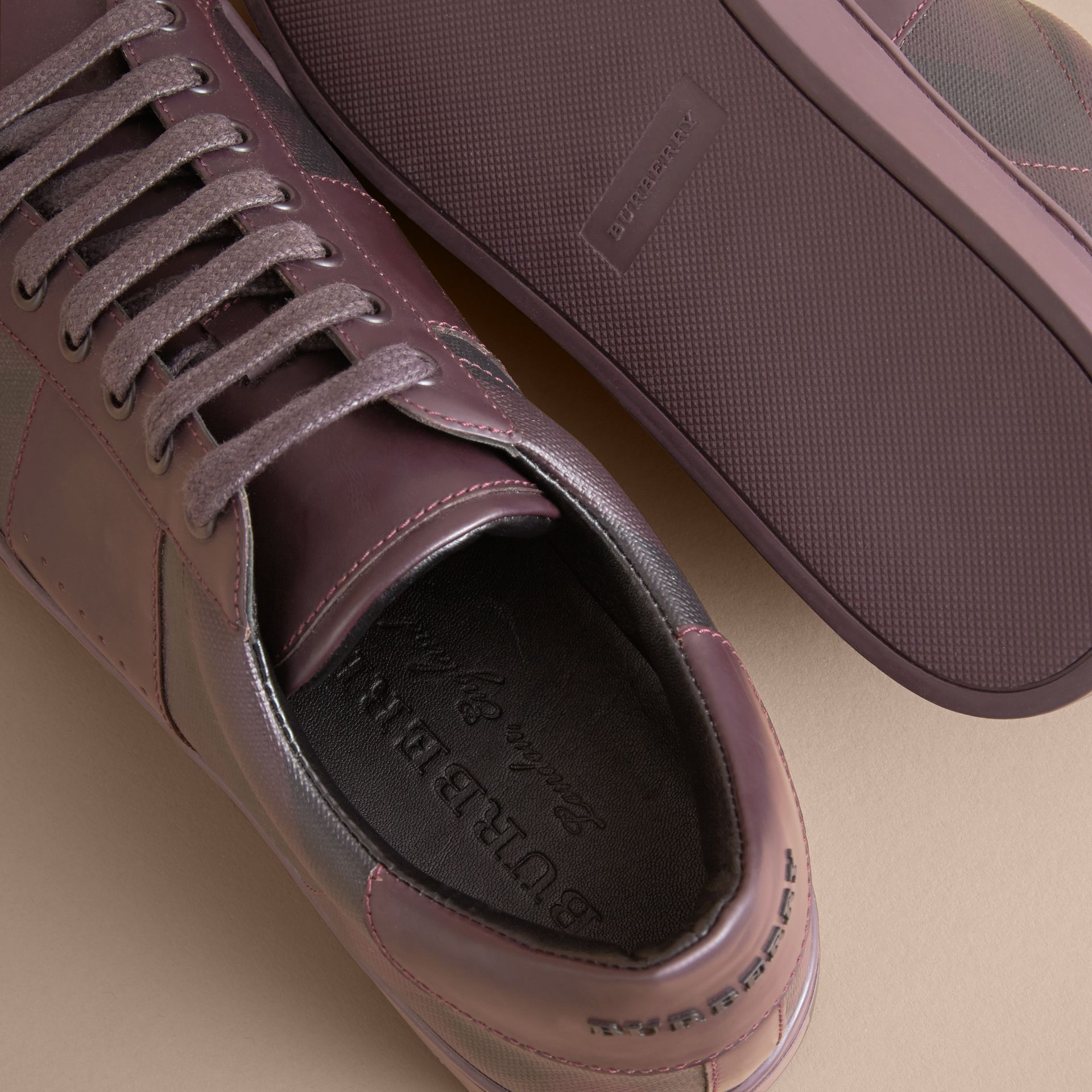 Check Detail Leather Trainers in Deep Claret - Men | Burberry - gallery image 5