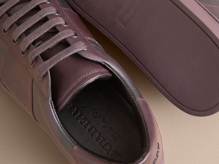 Check Detail Leather Trainers in Deep Claret - Men | Burberry - cell image 4