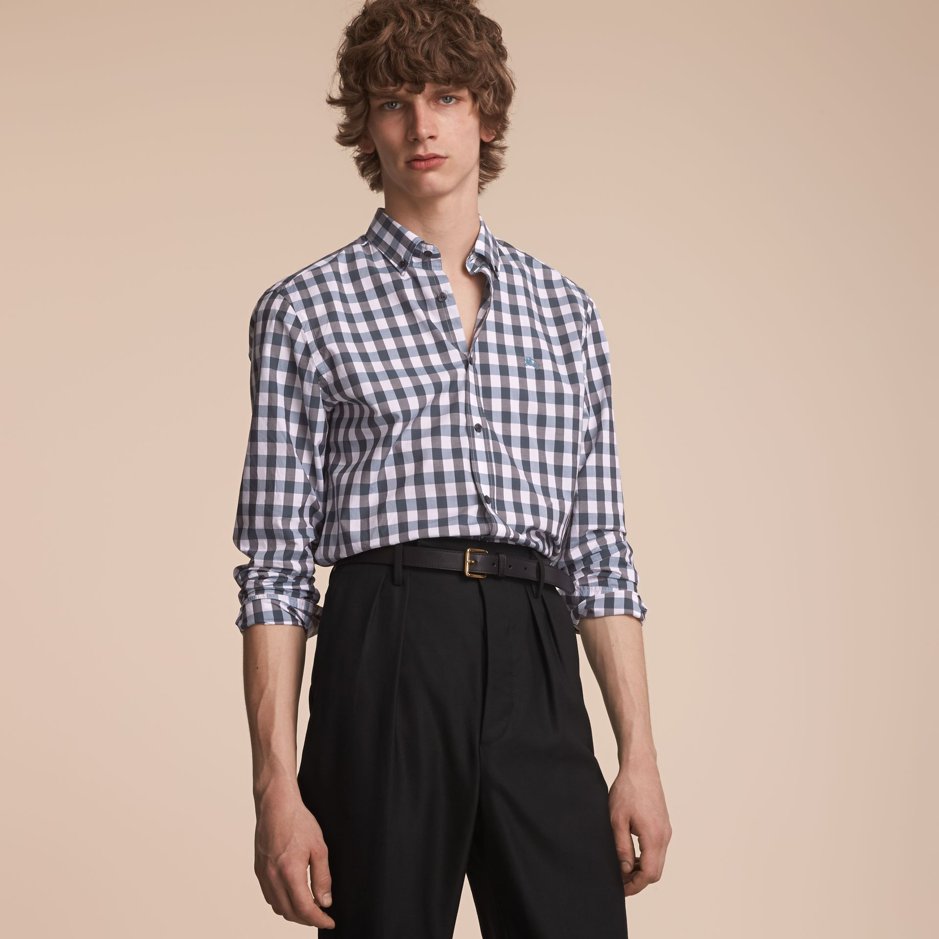Button-down Collar Gingham Cotton Shirt in Mineral Blue - gallery image 6