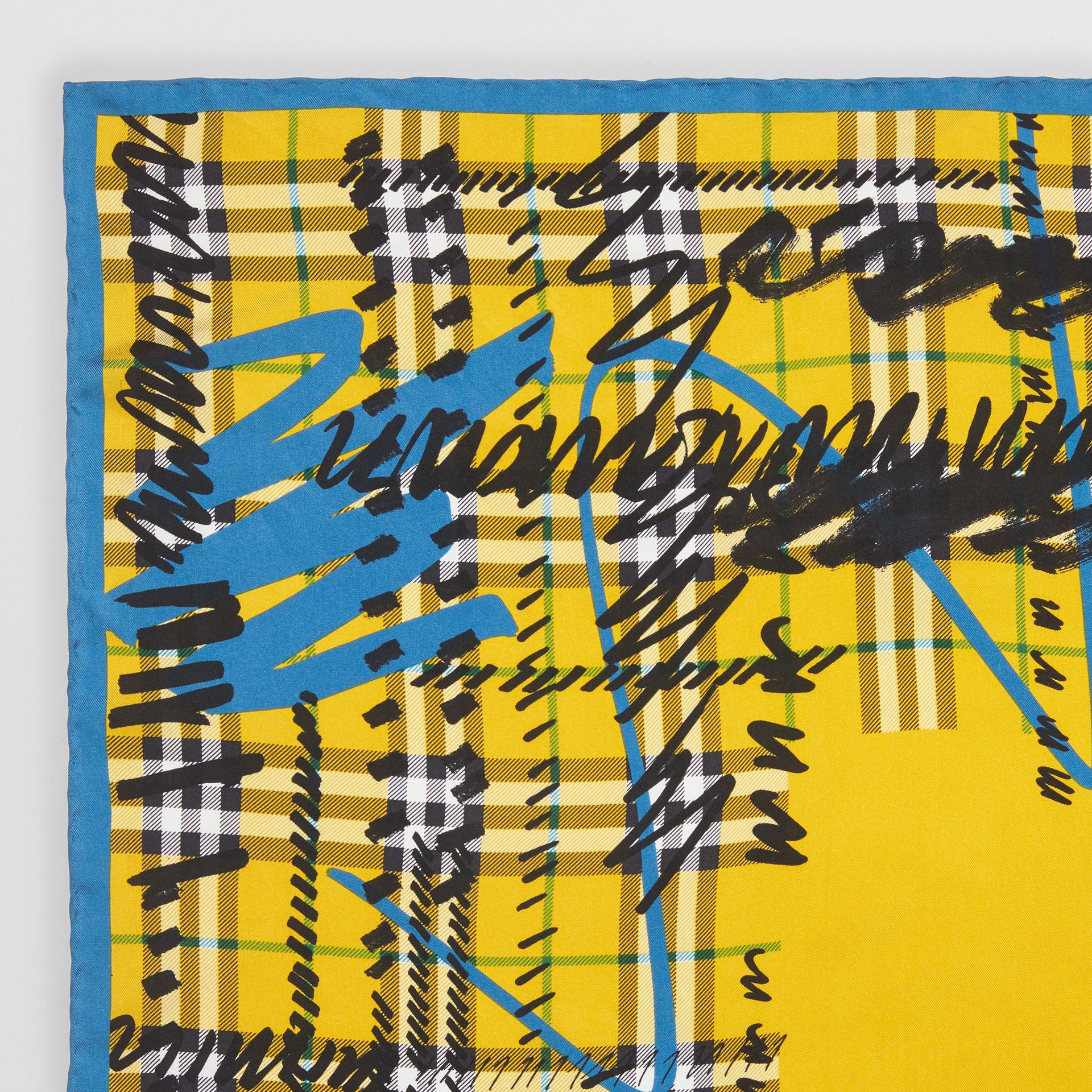 Scribble Check Silk Square Scarf in Bright Yellow | Burberry - gallery image 1