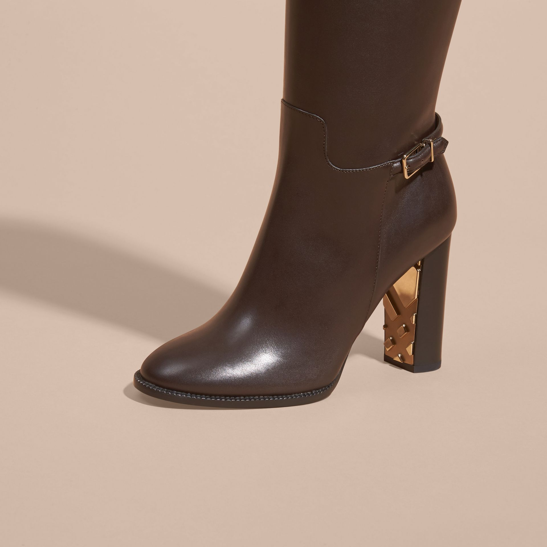 Chestnut Knee-high Leather Boots - gallery image 3