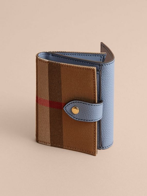 House Check and Leather Wallet in Slate Blue - Women | Burberry - cell image 3