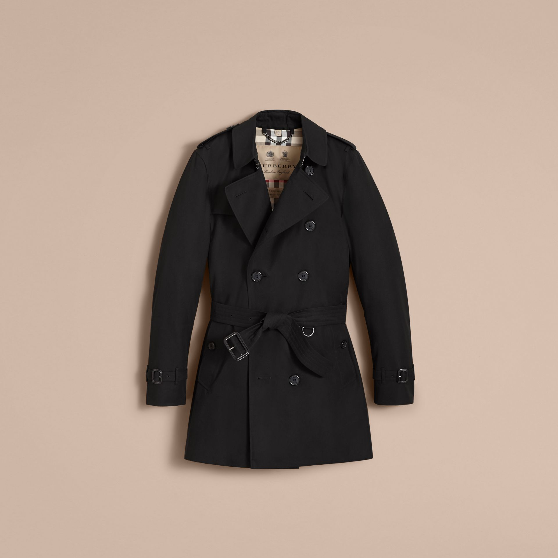 The Kensington – Mid-Length Heritage Trench Coat in Black - Men | Burberry - gallery image 4