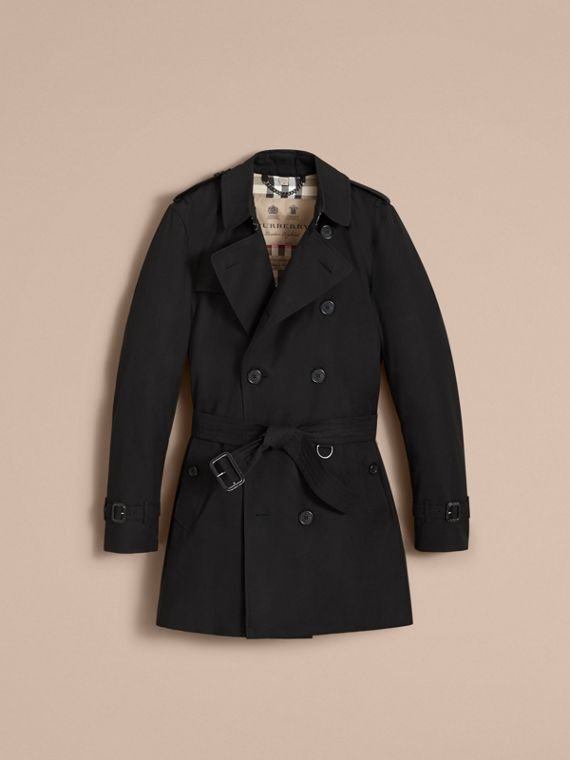 The Kensington – Mid-Length Heritage Trench Coat in Black - cell image 3