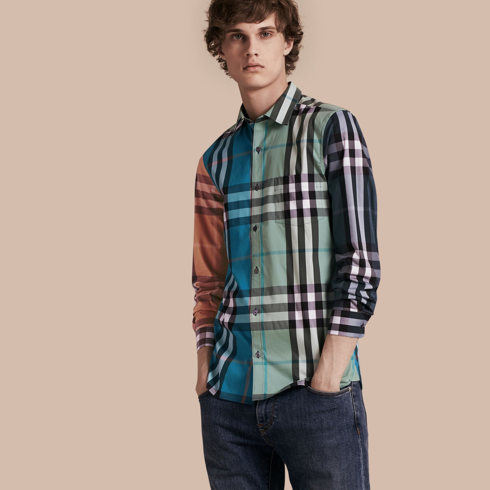 Cerulean blue Colour Block Check Cotton Blend Shirt Cerulean Blue - gallery image 1