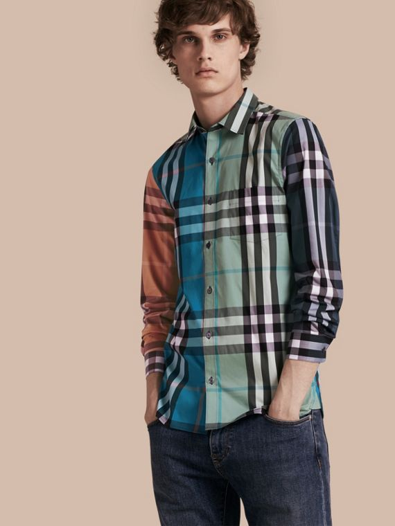 Colour Block Check Cotton Blend Shirt Cerulean Blue