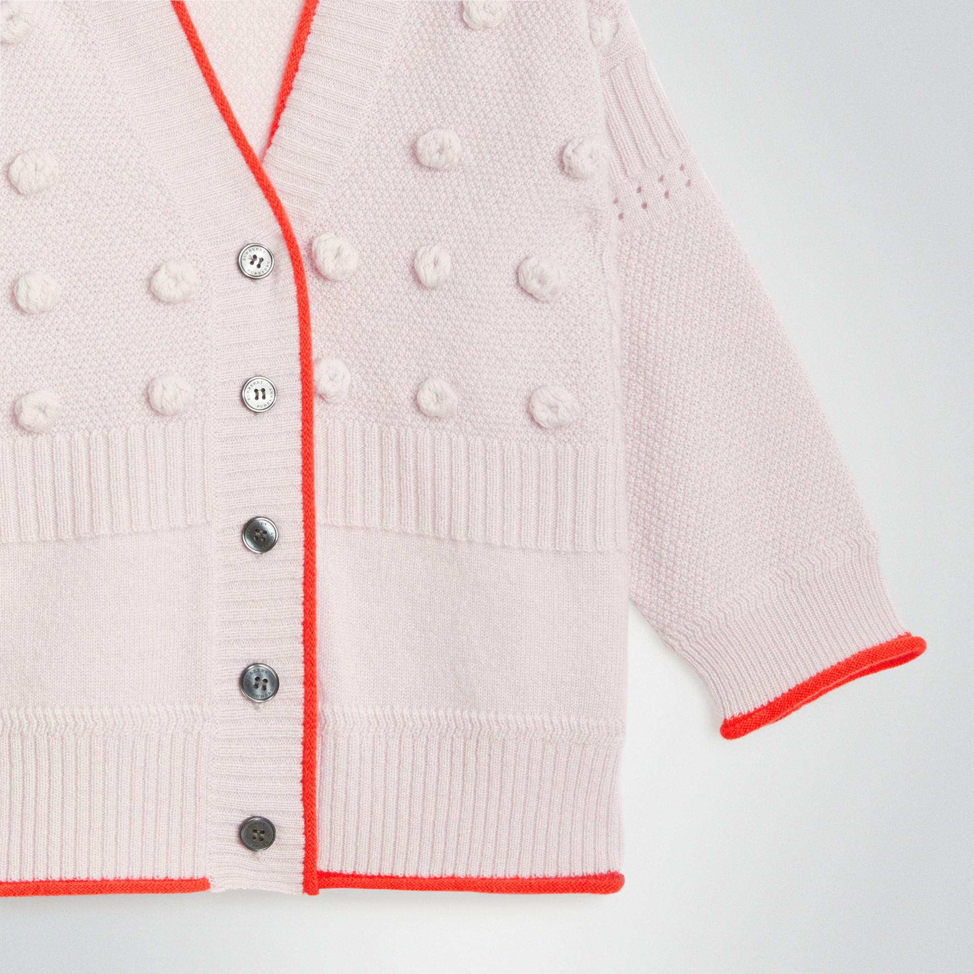 Contrast Knit Wool Cashmere Cardigan in Pale Lilac - Children | Burberry - gallery image 4
