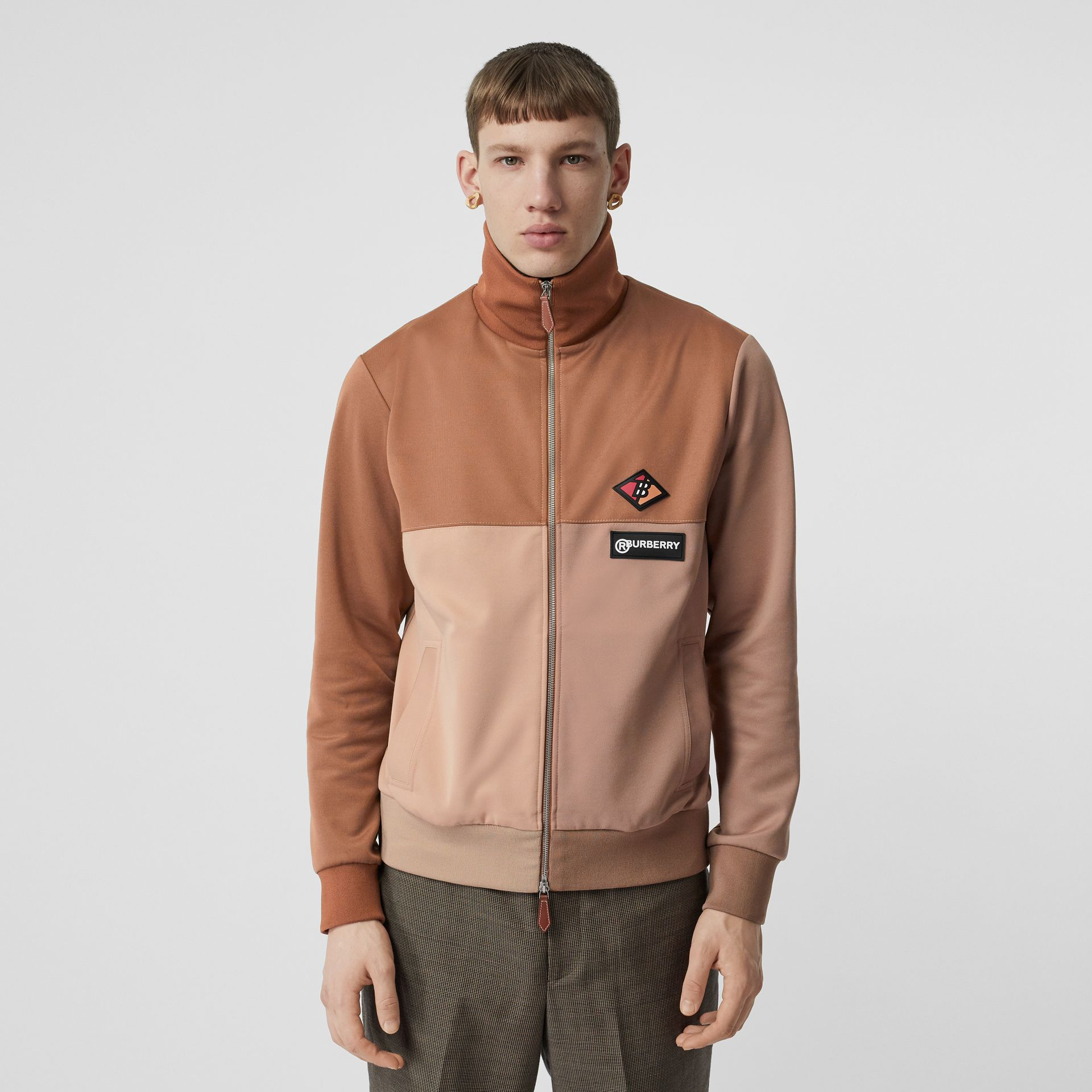 Logo Graphic Colour Block Neoprene Track Top in Camel - Men | Burberry - gallery image 0