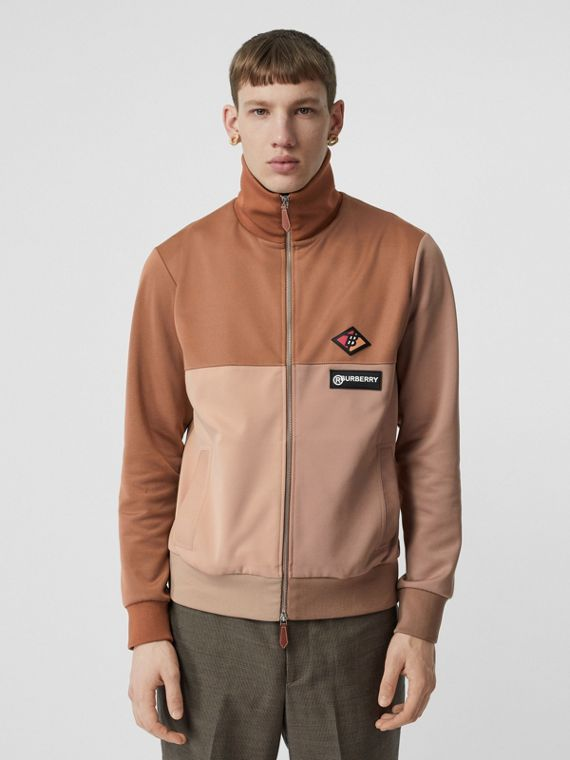 Logo Graphic Colour Block Neoprene Track Top in Camel