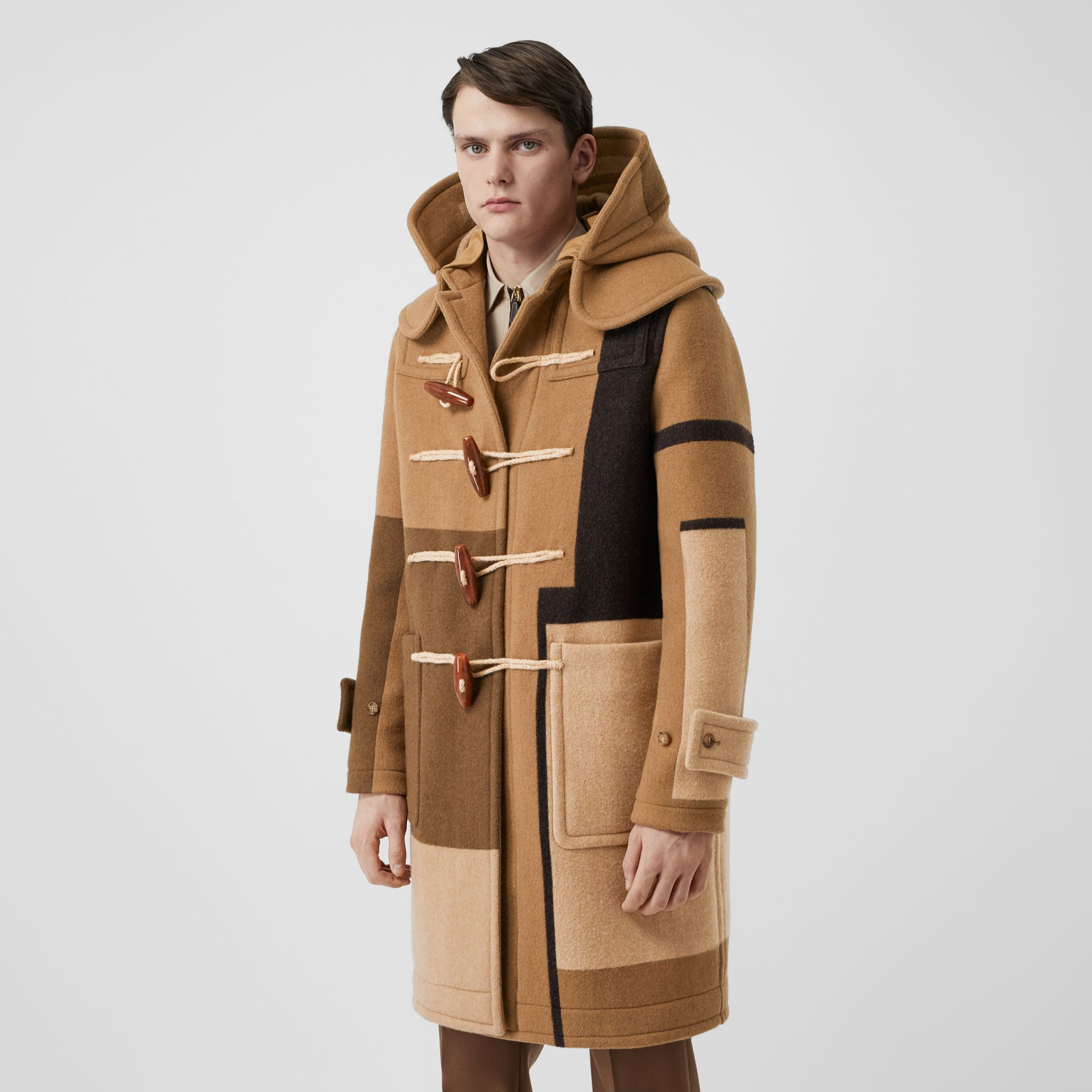 Panelled Wool Duffle Coat in Warm Camel - Men | Burberry United Kingdom - gallery image 5