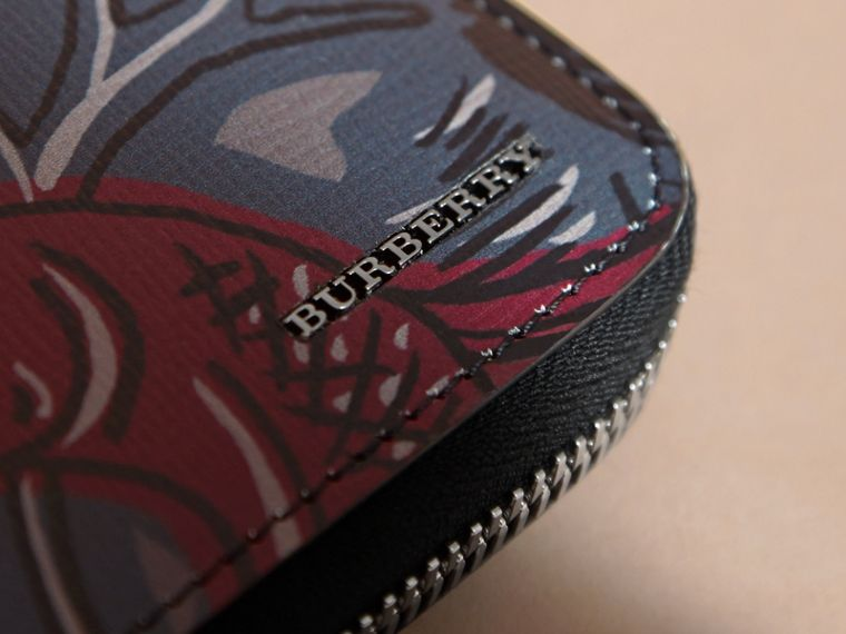 Beasts Print Leather Ziparound Wallet in Navy Grey - Men | Burberry Canada - cell image 1