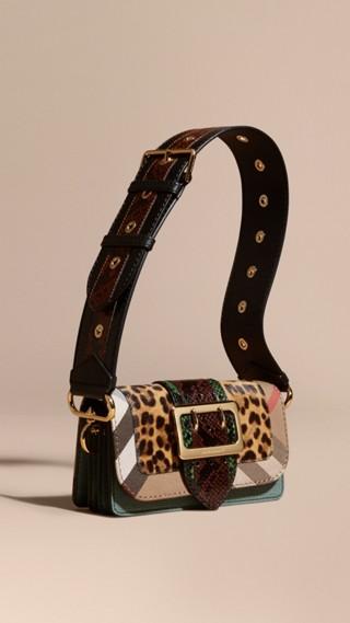Borsa The Patchwork in cavallino con stampa leopardata e pelle scamosciata effetto texture