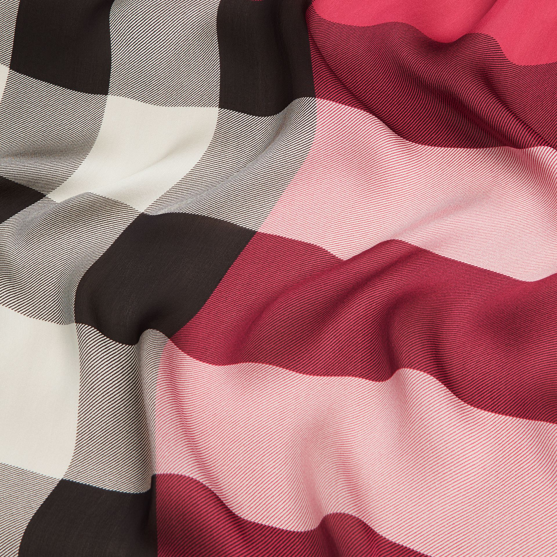 Lightweight Check Silk Scarf in Fuchsia Pink - Women | Burberry Canada - gallery image 2