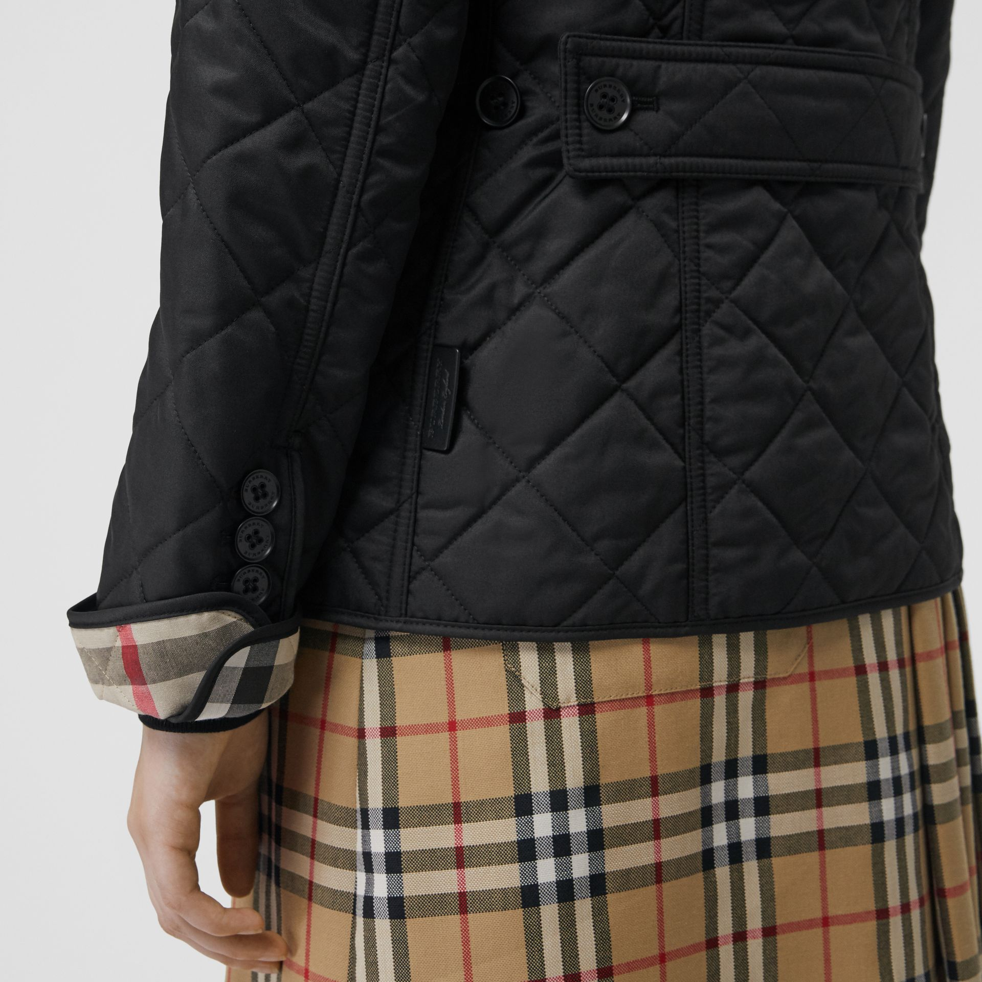 Diamond Quilted Jacket in Black - Women | Burberry United Kingdom - gallery image 4